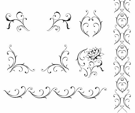 illustration drawing of beautiful black flower pattern Stock Photo - Budget Royalty-Free & Subscription, Code: 400-05236241