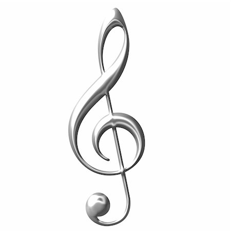 3d silver Treble Clef isolated in white Stock Photo - Budget Royalty-Free & Subscription, Code: 400-05236299