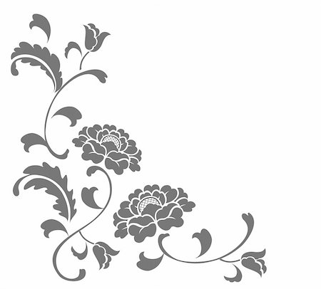 simsearch:400-05235216,k - drawing of grey flower in a white background Stock Photo - Budget Royalty-Free & Subscription, Code: 400-05236331