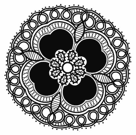 simsearch:400-05235216,k - beautiful black flower pattern in a white background Stock Photo - Budget Royalty-Free & Subscription, Code: 400-05236333