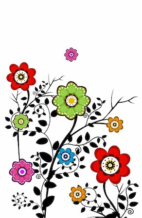 simsearch:400-04697977,k - drawing of beautiful flowers with black branch Stock Photo - Budget Royalty-Free & Subscription, Code: 400-05236581