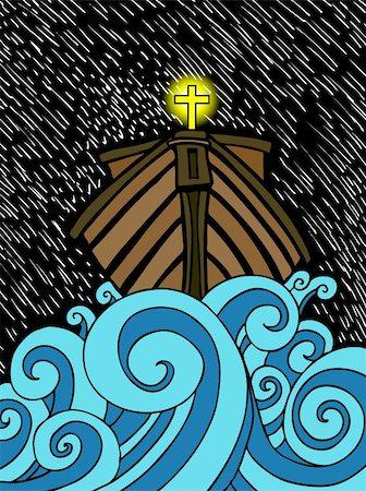 sailing boat storm - An abstract cartoon of Noah's ark. Stock Photo - Budget Royalty-Free & Subscription, Code: 400-05238392