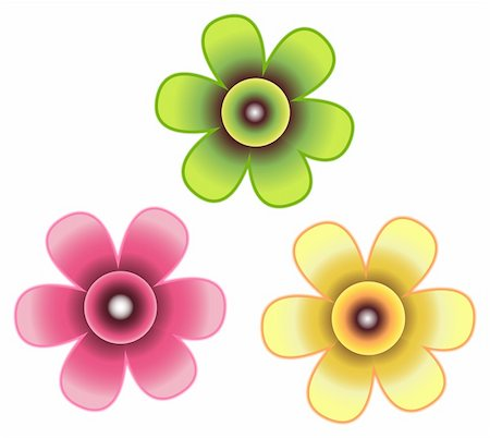simsearch:400-04697977,k - drawing of three beautiful flowers in a white background Stock Photo - Budget Royalty-Free & Subscription, Code: 400-05238632