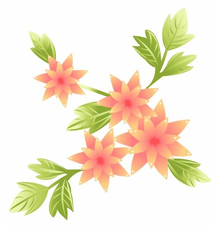 simsearch:400-04697977,k - illustration drawing of beautiful flower with green leaves Stock Photo - Budget Royalty-Free & Subscription, Code: 400-05238659
