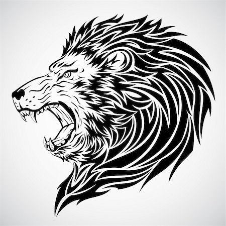 roar lion head picture - Lion head tattoo.  This image is a vector illustration and can be scaled to any size without loss of resolution. Included are a .eps and hires jpeg file. You will need a vector editor such as Adobe Illustrator or Coreldraw to use this file.  Each object are grouped and background are on separate layer for easy editing.    All works were created in adobe illustrator. Stock Photo - Budget Royalty-Free & Subscription, Code: 400-05230244