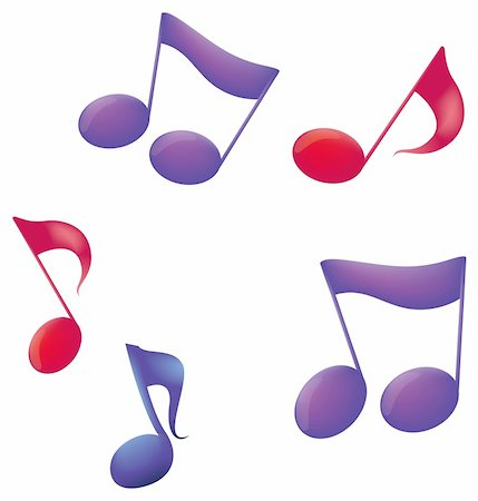 Abstract colorful music notes with effects and texture Stock Photo - Budget Royalty-Free & Subscription, Code: 400-05230406