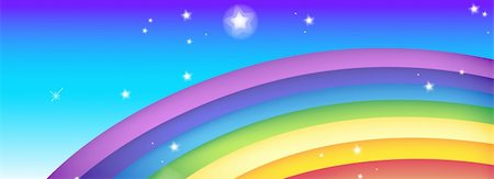 color rainbow with stars in a blue sky Stock Photo - Budget Royalty-Free & Subscription, Code: 400-05230481