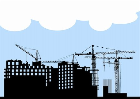 Vector drawing of construction of modern buildings and equipment Stock Photo - Budget Royalty-Free & Subscription, Code: 400-05232050