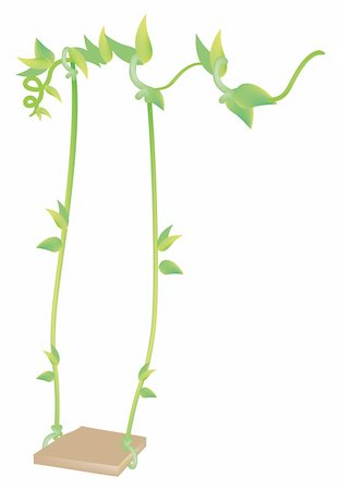 illustration drawing of swing with vines isolate in a white background Stock Photo - Budget Royalty-Free & Subscription, Code: 400-05232794
