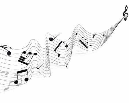 picture of music staff with notes - Vector musical notes staff background for design use Stock Photo - Budget Royalty-Free & Subscription, Code: 400-05232811