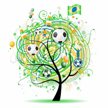 fireworks with yellow and green background - Football tree design, brazilian flag Stock Photo - Budget Royalty-Free & Subscription, Code: 400-05233447