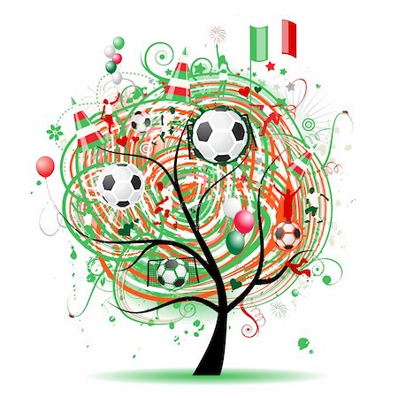 Football tree design, Mexican flag Stock Photo - Budget Royalty-Free & Subscription, Code: 400-05233448