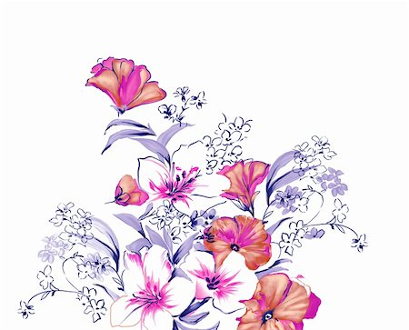 simsearch:400-04697977,k - drawing of beautiful purple flower with blue leaves Stock Photo - Budget Royalty-Free & Subscription, Code: 400-05233590