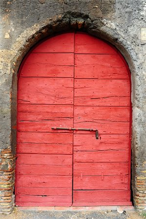 Close-up Image Of Red Wooden Ancient Italian Door Stock Photo - Budget Royalty-Free & Subscription, Code: 400-05244056