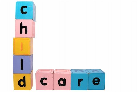 assorted childrens toy letter building blocks against a white background that spell childcare with clipping path Stock Photo - Budget Royalty-Free & Subscription, Code: 400-05246302