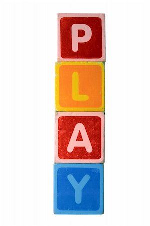 assorted childrens toy letter building blocks against a white background that spell play with clipping path Stock Photo - Budget Royalty-Free & Subscription, Code: 400-05246310