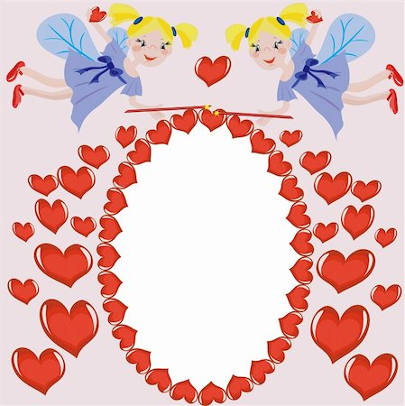 Frame with hearts and fairies Stock Photo - Budget Royalty-Free & Subscription, Code: 400-05247206
