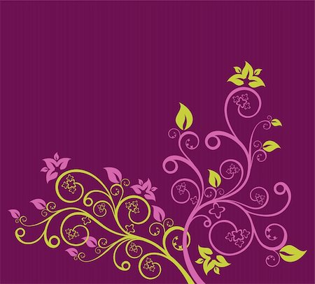 Green and purple floral vector illustration Stock Photo - Budget Royalty-Free & Subscription, Code: 400-05247291