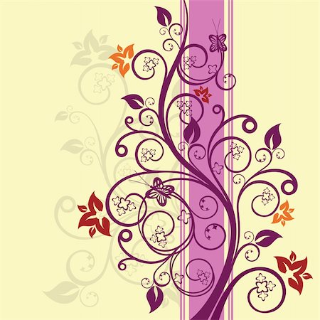 Purple and pink floral vector illustration Stock Photo - Budget Royalty-Free & Subscription, Code: 400-05247586