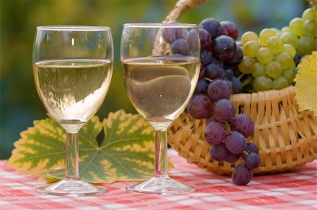 Two glasses of wine and fresh grapes in autumn, after harvest Stock Photo - Budget Royalty-Free & Subscription, Code: 400-05247719