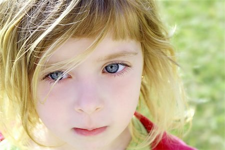 beautiful blond little girl children portrait outdoor in park Stock Photo - Budget Royalty-Free & Subscription, Code: 400-05248188