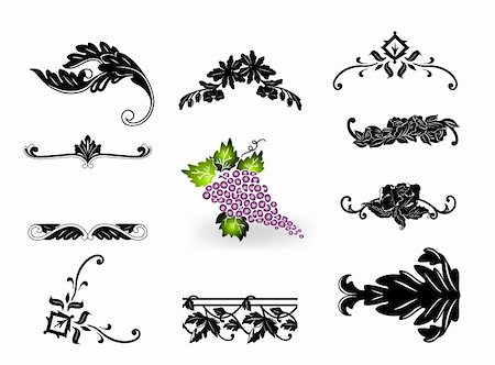 pretty in black clipart - Corner ornament floral elements vintage set. Vector illustration Stock Photo - Budget Royalty-Free & Subscription, Code: 400-05248517