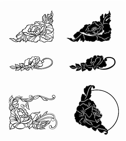 pretty in black clipart - Corner ornament floral elements vintage set. Vector illustration Stock Photo - Budget Royalty-Free & Subscription, Code: 400-05248524