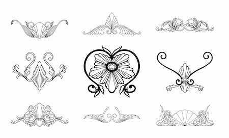 pretty in black clipart - Corner ornament floral elements vintage set. Vector illustration Stock Photo - Budget Royalty-Free & Subscription, Code: 400-05248539