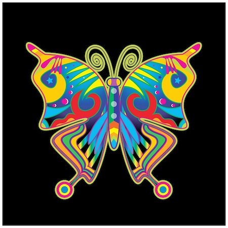 Abstract butterfly vector illustration poster template on black background Stock Photo - Budget Royalty-Free & Subscription, Code: 400-05248630