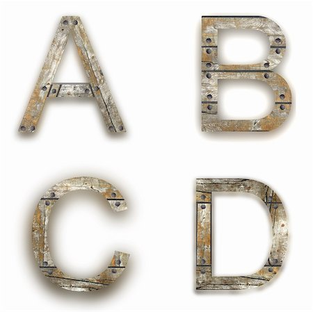 Wooden alphabet. A, B, C, D letter isolated on white - illustration Stock Photo - Budget Royalty-Free & Subscription, Code: 400-05249266