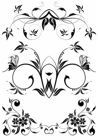 Floral frame with butterfly, element for design, vector illustration Stock Photo - Budget Royalty-Free & Subscription, Code: 400-05249557