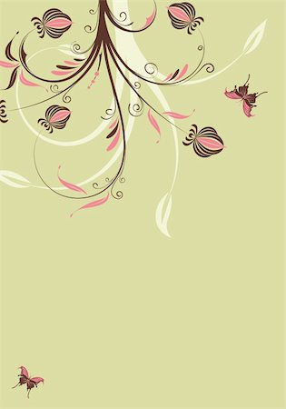 simsearch:400-04290504,k - Floral background with butterfly, element for design, vector illustration Stock Photo - Budget Royalty-Free & Subscription, Code: 400-05249558
