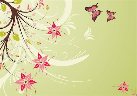 filigree designs in trees and insects - Floral Background with butterfly, element for design, vector illustration Stock Photo - Budget Royalty-Free & Subscription, Code: 400-05249570