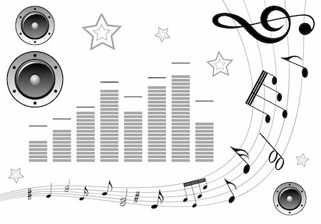 Music element with note pattern and loudspeaker, element for design, vector illustration Stock Photo - Budget Royalty-Free & Subscription, Code: 400-05249595