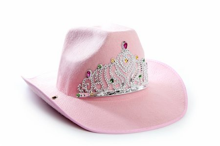 pretty pink star white background - Children girl pink cowboy cowgirl hat with princess crown Stock Photo - Budget Royalty-Free & Subscription, Code: 400-05240651