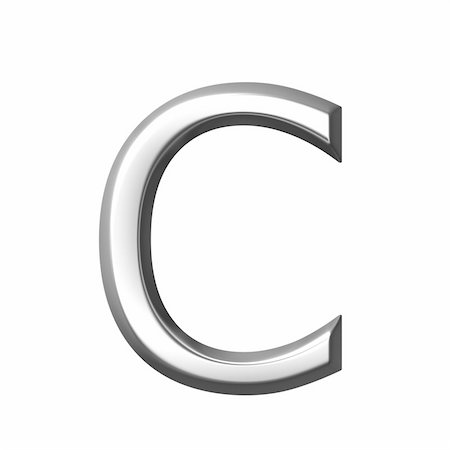 fancy letters - 3d silver letter c isolated in white Stock Photo - Budget Royalty-Free & Subscription, Code: 400-05241516