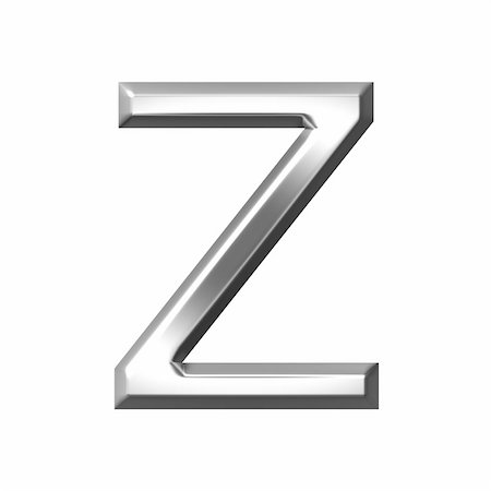 fancy letters - 3d silver letter z isolated in white Stock Photo - Budget Royalty-Free & Subscription, Code: 400-05241539