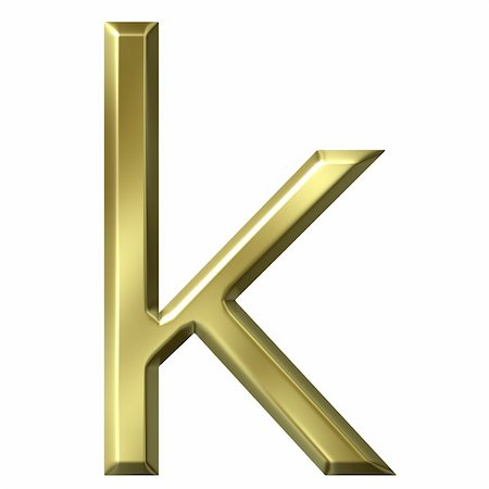 fancy letters - 3d golden letter k isolated in white Stock Photo - Budget Royalty-Free & Subscription, Code: 400-05241848