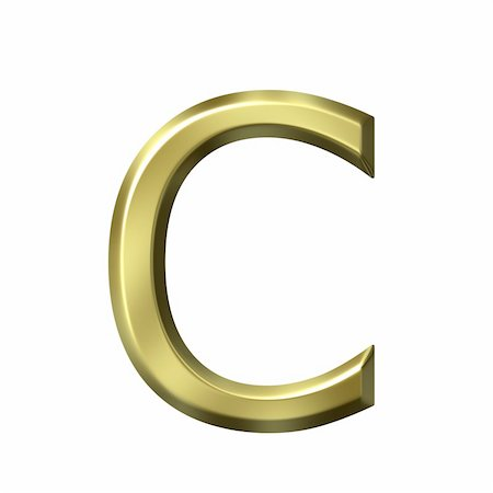 fancy letters - 3d golden letter c isolated in white Stock Photo - Budget Royalty-Free & Subscription, Code: 400-05241840