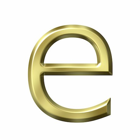 fancy letters - 3d golden letter e isolated in white Stock Photo - Budget Royalty-Free & Subscription, Code: 400-05241842