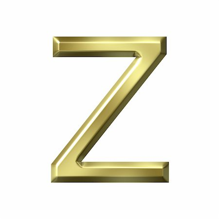 fancy letters - 3d golden letter z isolated in white Stock Photo - Budget Royalty-Free & Subscription, Code: 400-05241863