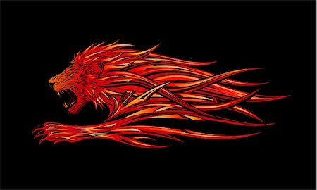 roar lion head picture - A fiery red lion illustration Stock Photo - Budget Royalty-Free & Subscription, Code: 400-05242985