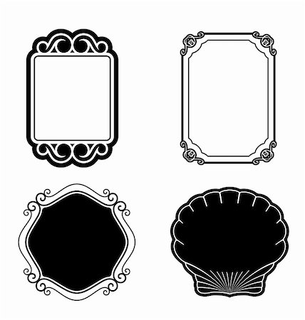 Collection ornamental vintage picture frames. Vector illustration Stock Photo - Budget Royalty-Free & Subscription, Code: 400-05243112