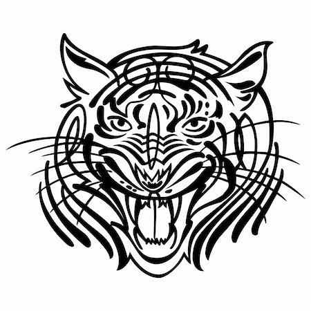 roar lion head picture - Head of an aggressive tiger. Vector illustration Stock Photo - Budget Royalty-Free & Subscription, Code: 400-05254266