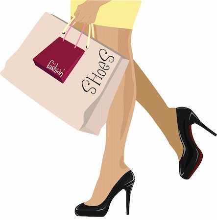 stylish girl in high heels with shopping bags Stock Photo - Budget Royalty-Free & Subscription, Code: 400-05254389