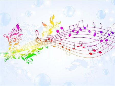 swirly - musical fantasy theme with bright rainbow notes and air bubble background, EPS10 Stock Photo - Budget Royalty-Free & Subscription, Code: 400-05254744