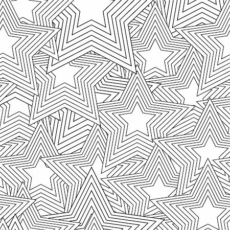 Retro black and white seamless star background Stock Photo - Budget Royalty-Free & Subscription, Code: 400-05255630