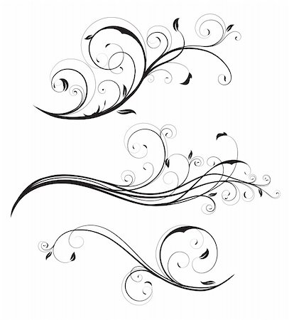 filigree tree - Vector illustration set of swirling flourishes decorative floral elements Stock Photo - Budget Royalty-Free & Subscription, Code: 400-05255862