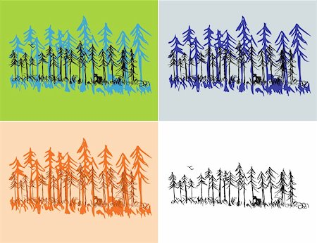 A hand drawn pine forest scene with seasonal colors and plain black. Stock Photo - Budget Royalty-Free & Subscription, Code: 400-05256039