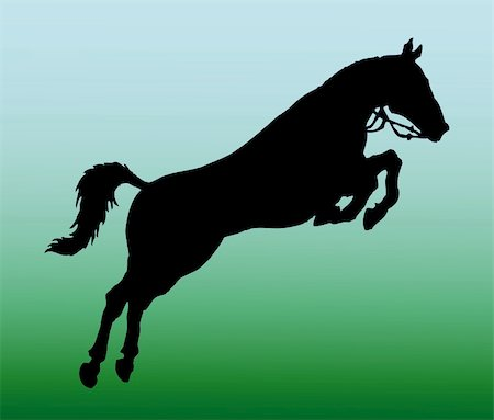 vector silhouette of jumping horse Stock Photo - Budget Royalty-Free & Subscription, Code: 400-05256085